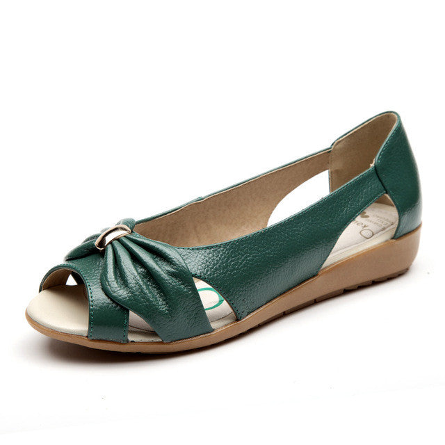 AARDIMI Big Size Genuine Leather Sandals Women Flats Solid Casual