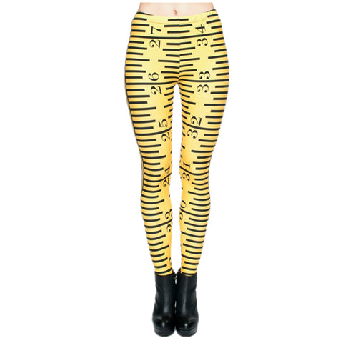 New Women Leggings 3D Print Yellow Ruler Plaid Shiny Jeggings Sexy Leggins Tayt  Fitness Legging Calzas Mujer Soft Legins Girls