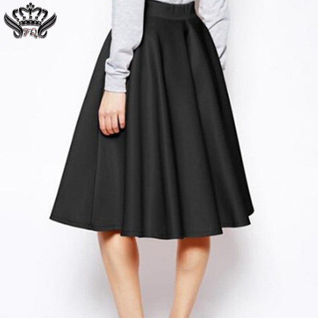 A-Line Skirt Solid Black Pink Red Pleated Midi Skirts Casual Elegant
