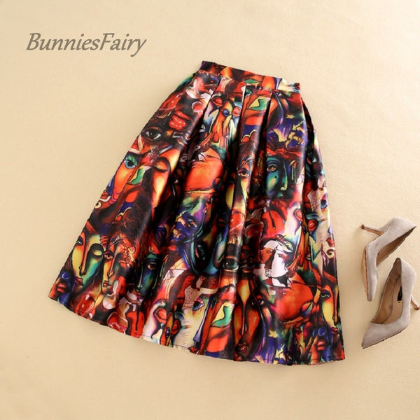 BunniesFairy Brand 2016 Fall New Female Vintage Multicolored Abstract Character Painting Print High Waist Box Pleated Skirt Tutu