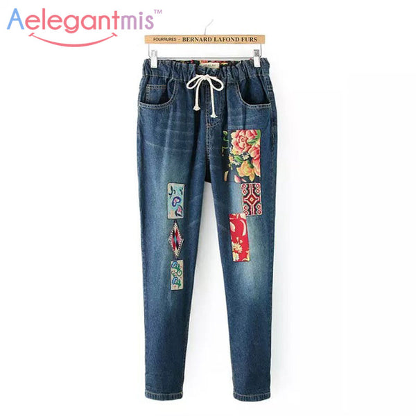 Aelegantmis Flower Embroidery Jeans Women Casual Patchwork Denim Pants Female 2017 Spring Pockets Straight Jeans Plus Size 3XL