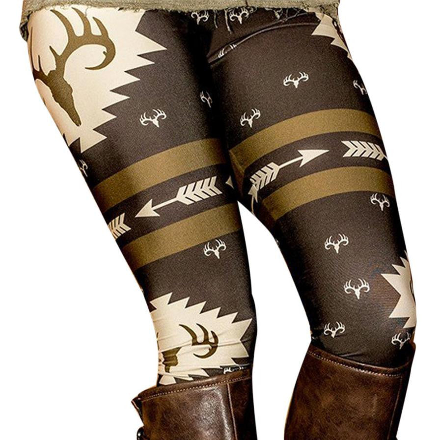 Christmas Deer Printed Stretchy Pants Leggings Printing High Elastic