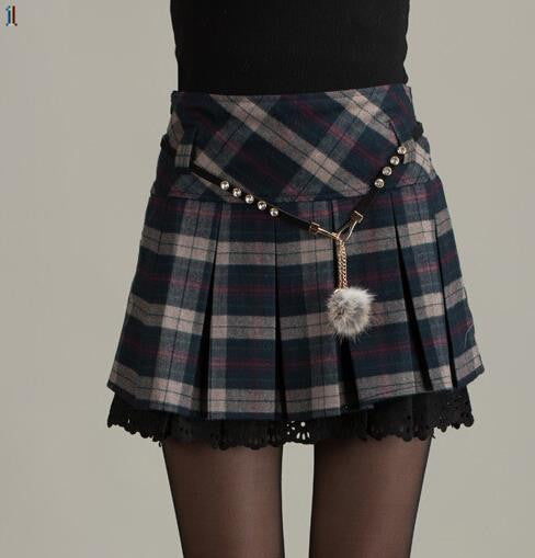 Autumn and winter plaid skirt pleated skirt flounced skirt bottoming