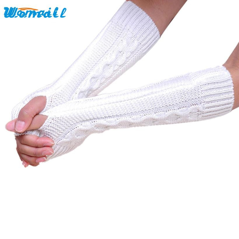 Amazing Winter Women Girl Fingless Knitted Long Gloves Female