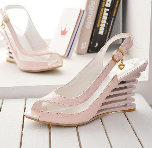 BONJOMARISA High Wedge Heel Sandals Buckle Open Toe Transparent