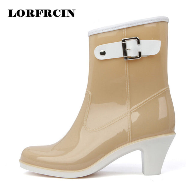 Rain Boots Women Waterproof Shoes Ankle Rubber Boots High Heel