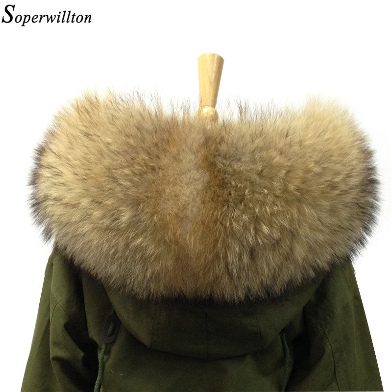 80cm 2017 Winter 100% Real Natural Raccoon Fur Collar & Womens