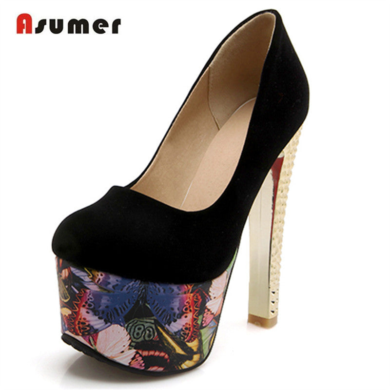 Asumer Ultra high with 15cm platform shoes women pumps wedding party