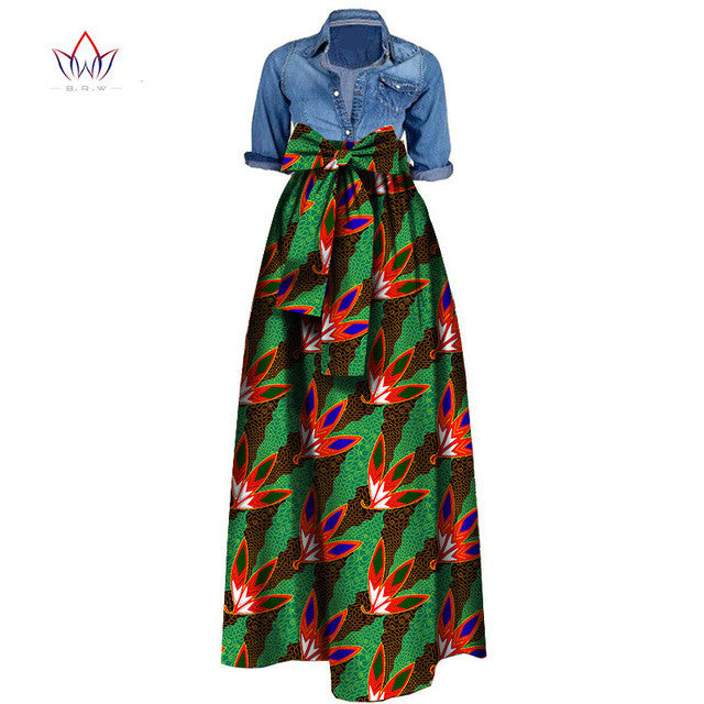 Autumn Woman Long Maxi Skirt for Women African Dashiki for women Bazin