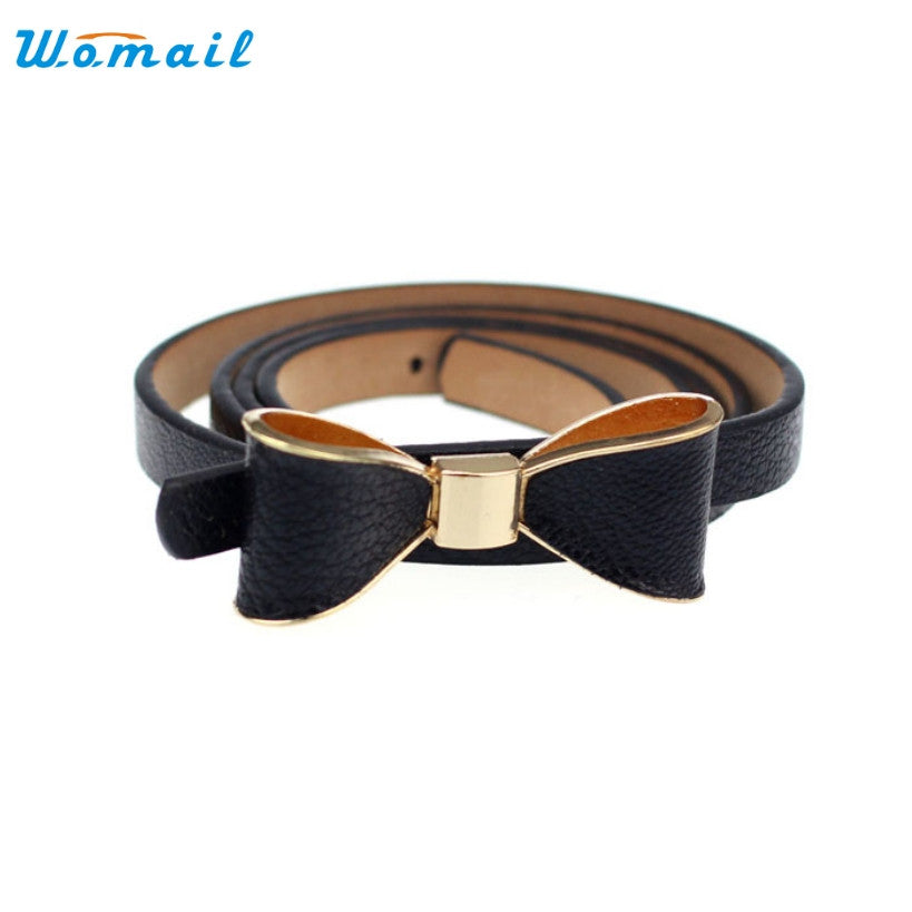Amazing Women Candy Color PU Leather Butterfly Bow Thin Waist Belt