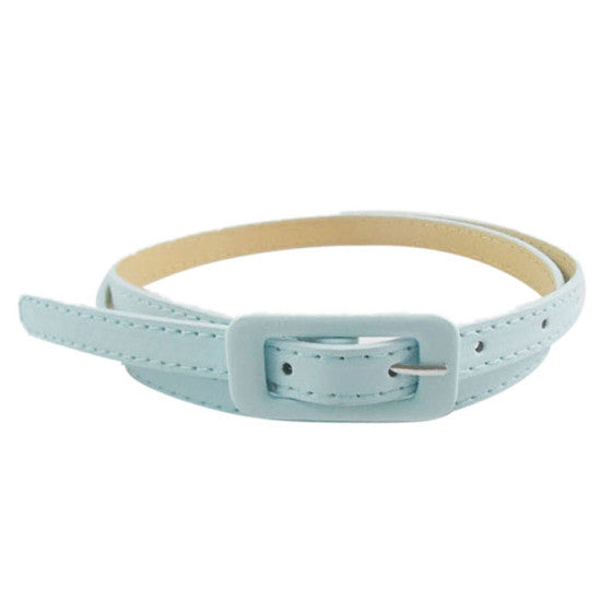 Amazing Women's Cute Candy Colors PU Leather Thin Belt Skinny