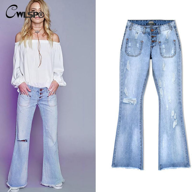 CWLSP Jeans Woman Loose Wide Leg Flare Pants Tassel Low Waist