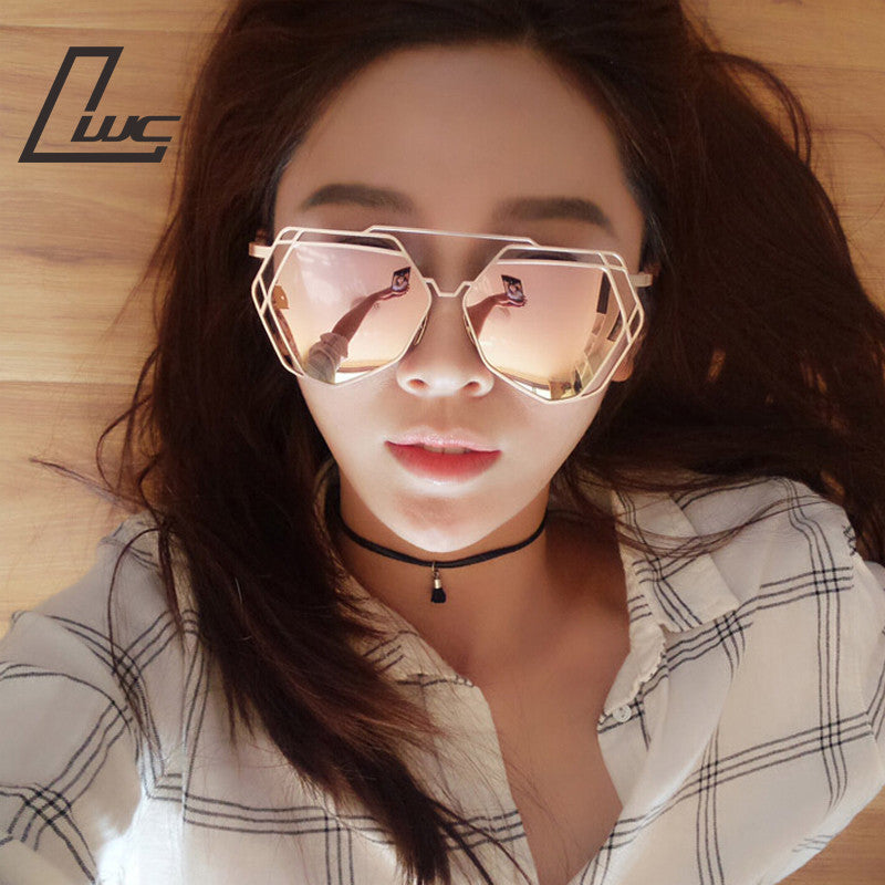 Brand Designer 2016 New Big Mirror Sunglasses Women Hexagon Lovers
