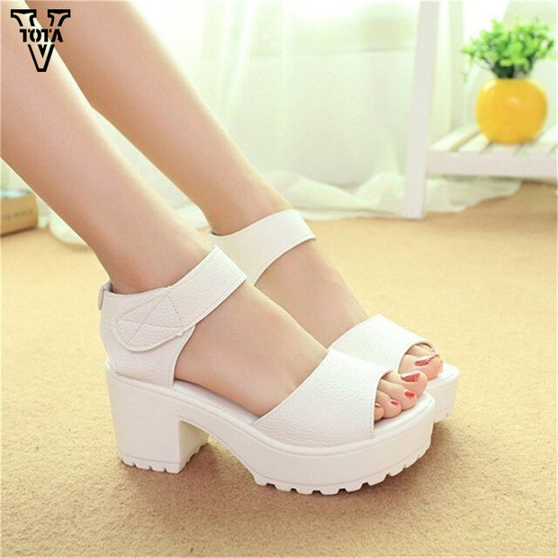 Fashion Women Sandals Summer shoes 2017 wedges Open Toe Thick Heel