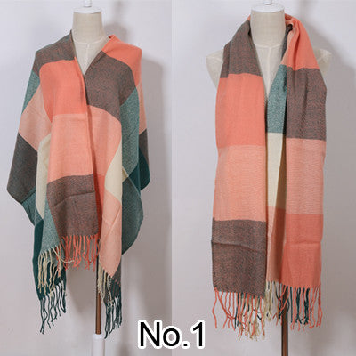 Brand Scarfs Long Tassels Red Plaid Cashmere Woven Warm Pashmina