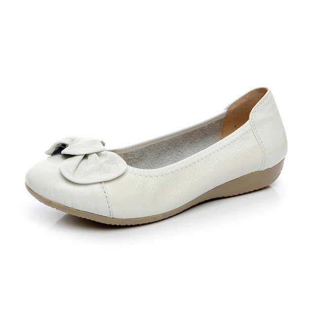 AARDIMI Genuine Leather Shoes Women Solid Loafers Women Flats Ballet