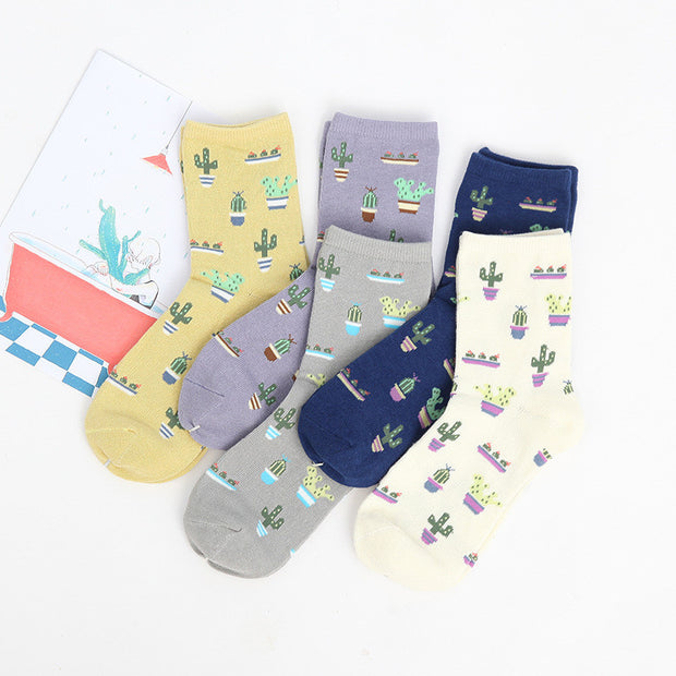 Foot 22-25cm Cacti Socks Fashion Daily Plant Ball Cactus Harajuku