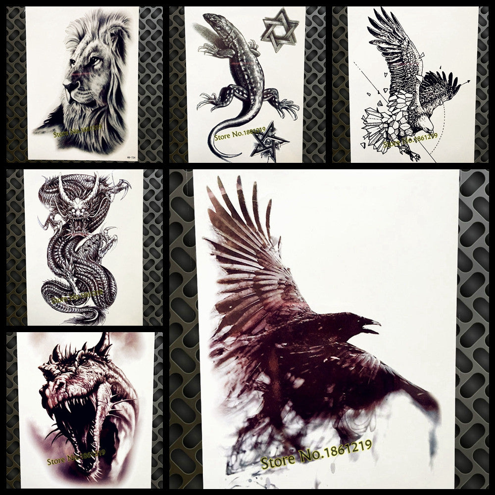 Dark Eagle Crow Temporary Tattoo Stickers Women Men Body Art Flash Tatto Sticker Hb577