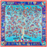 90cm*90cm 2017 Spring New Arrival France Euro Brand Style Women Fashion Silk Polyester Square Scarf Big Size Silk Shawl