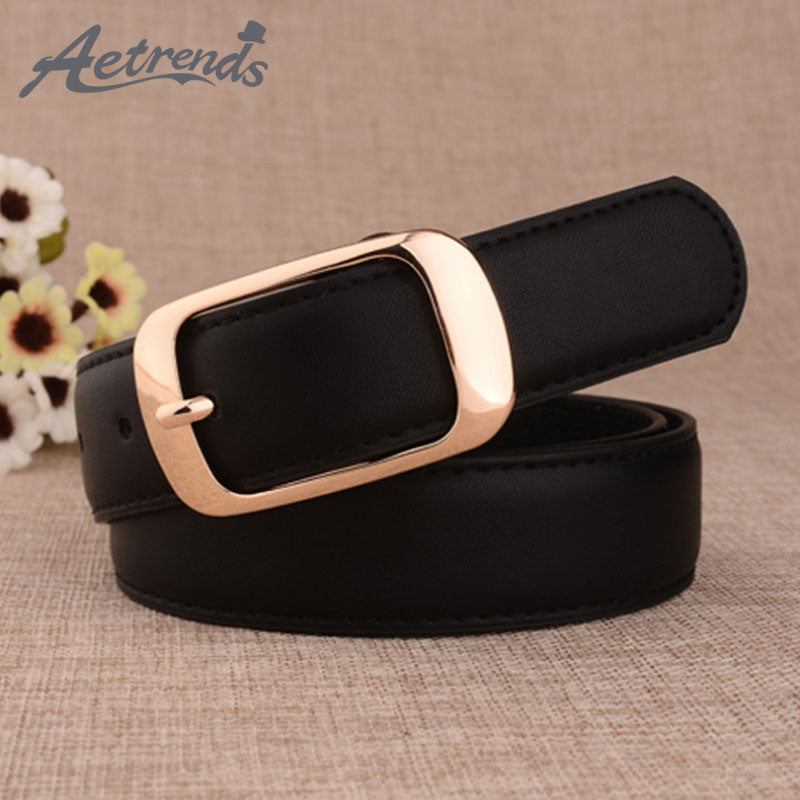 [AETRENDS] 2016 Cowskin Leather Fashion Brand Designer Belts for Women
