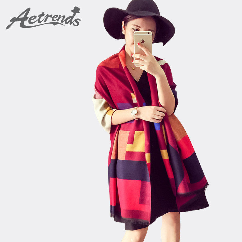 [AETRENDS] Luxury Brand Scarf Women Plaid Cashmere Scarves Cape