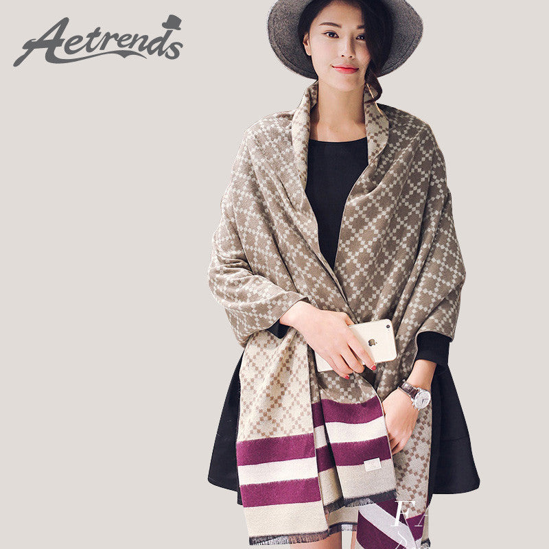 [AETRENDS] 2016 New Winter Women's Scarves Cashmere Plaid Scarf Double