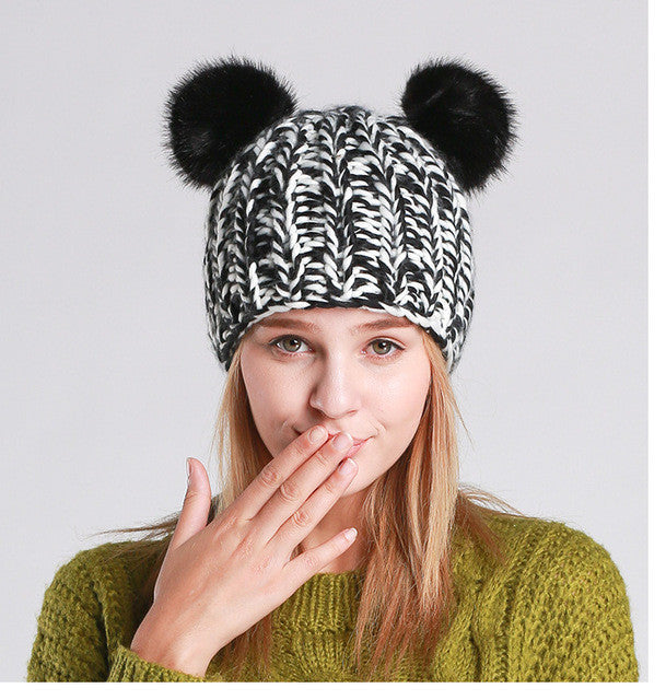 [AETRENDS] 2016 New Winter Beanies Pompom with Lovely Cat Ears