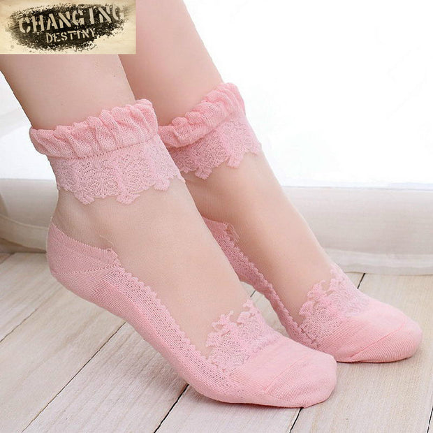 Women's Socks Colorful Ultrathin Transparent Beautiful Crystal Lace