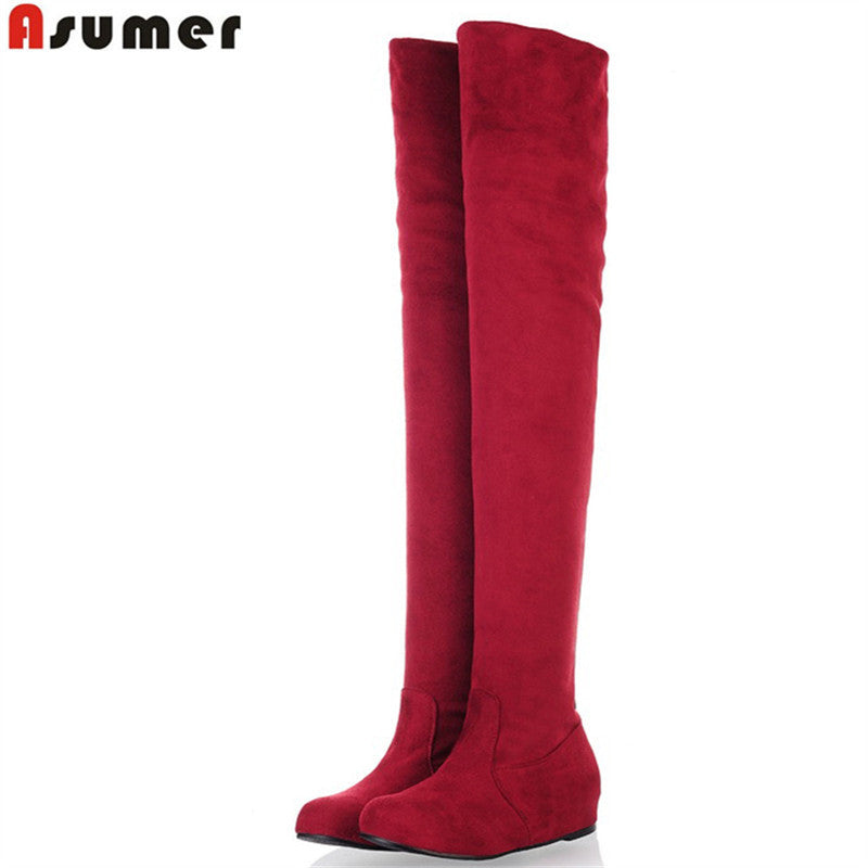 ASUMER Plus size 34-47 new fashion over the knee boots flat thigh high