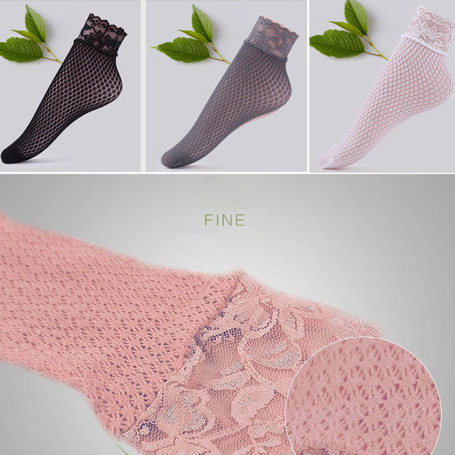 Casual Lace Socks for Women Girls New Floral Nylon Socks Hollow