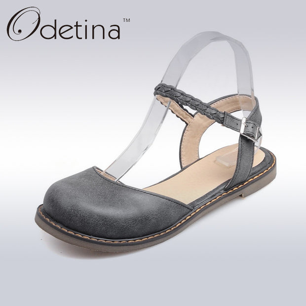 Odetina New Fashion Women Buckle Strap Mary Jane Flat Shoes Casual