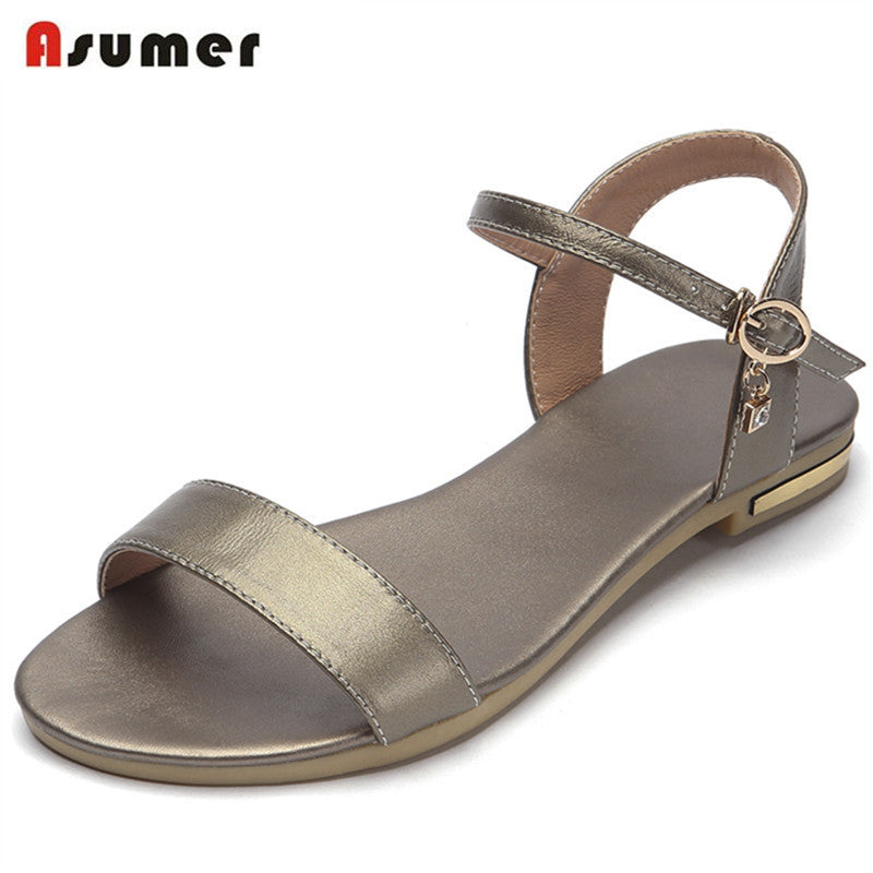 Asumer 2017 Women sandals summer shoes big size 33-43 genuine