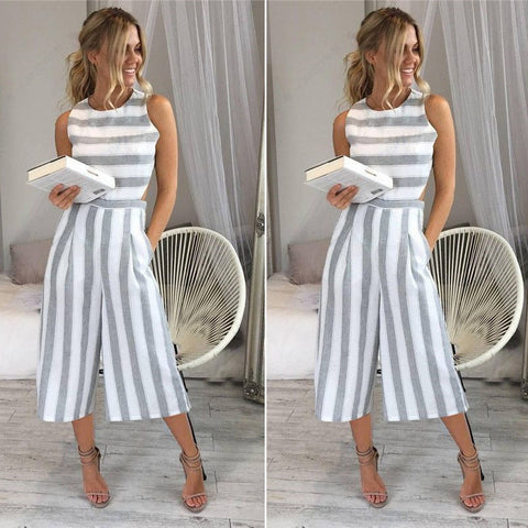 Rompers womens jumpsuit 2017 Women striped  cotton  overalls Ladies casual loose wide leg pants Jumpsuits High quality