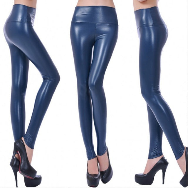 Womens Fashion Black PU Leather Leggings Pants For Female Plus Size