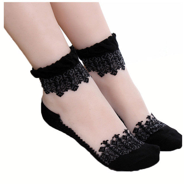 5Pair Women Summer Sexy Ultrathin Lace Transparent Crystal Socks