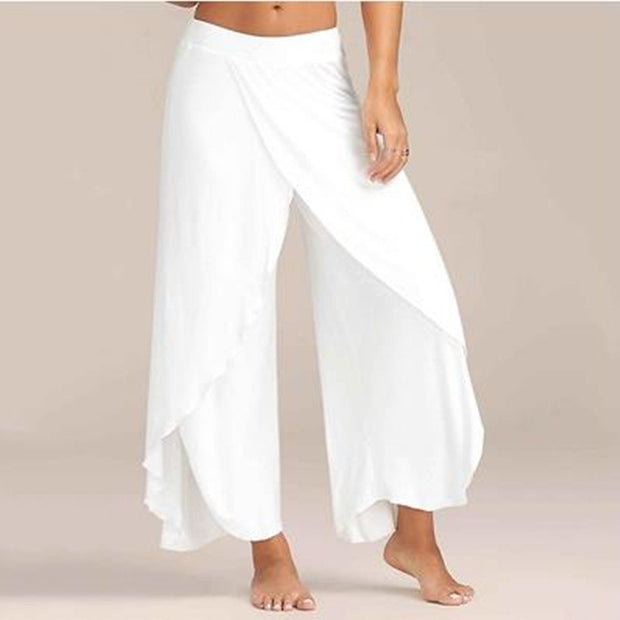 NIBESSER Chiffon  Irregular Side Pants Women Causal Wide Leg Split