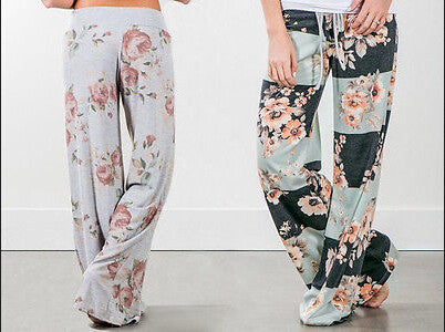 UK Ladies Summer Wide Leg Loose Trousers Floral Print Palazzo Women Pants New Fashion Women Casual Pants