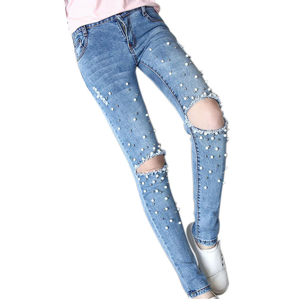 women jeans with beads handwork pearl pantalones vaqueros mujer fashio love them pants. Black Bedroom Furniture Sets. Home Design Ideas