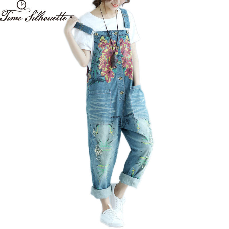 Autumn Casual Denim Overalls Women Loose Ripped Jean Jumpsuit