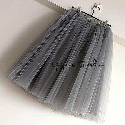 7 Layers Quality Maxi Long Tutu Tulle Skirts Womens Pleated Skirt
