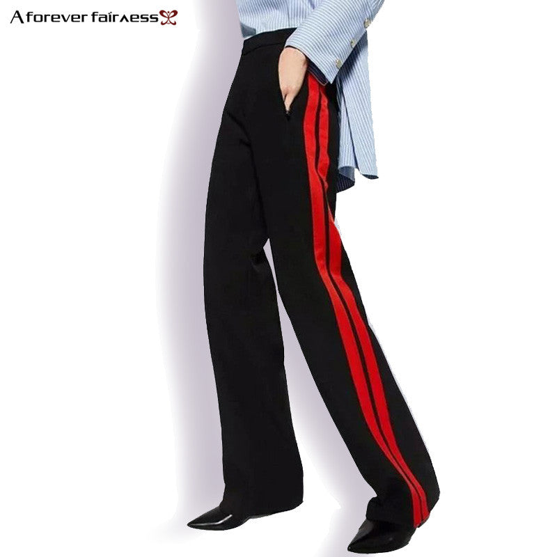 A Forever 2017 Women Long Pant Casual Style Side Belt Red Striped