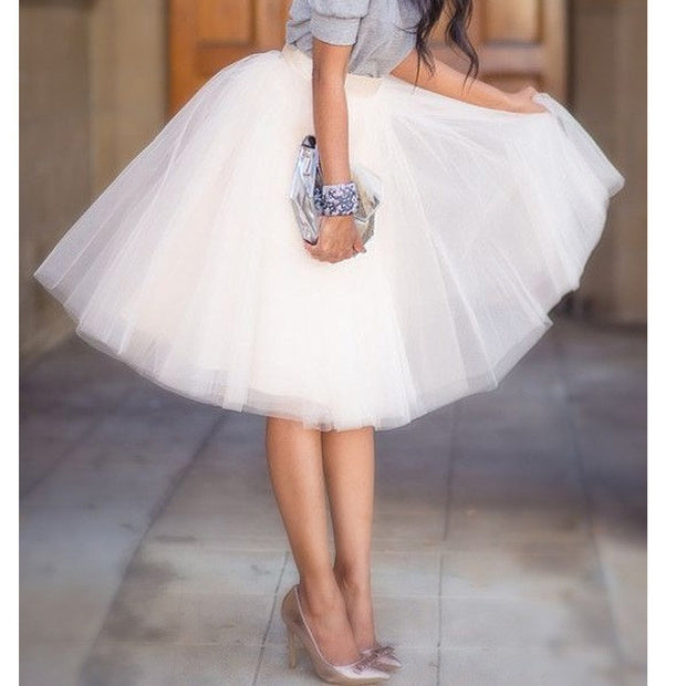 Quality 5 Layers 65cm Summer Midi Tulle Skirt Fashion Pleated TUTU