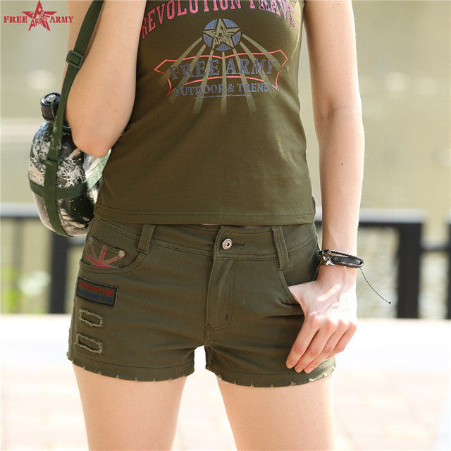 Army Green Women Shorts Mini Shorts Summer Women Loose Cton Casual
