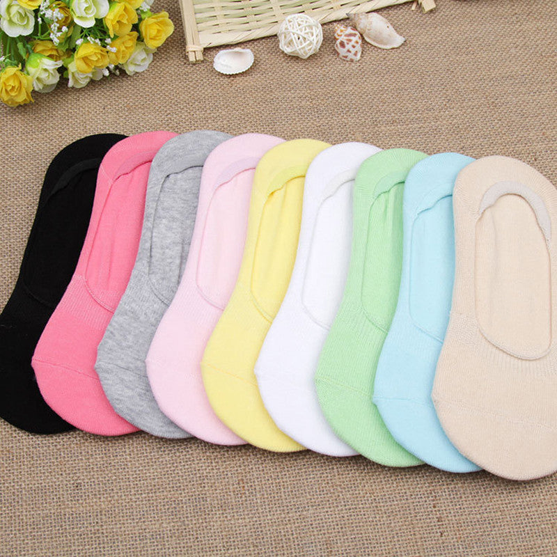 5Pair Multicolor Ladies Socks Slipper Low Cut Socks Non-Slip Invisible