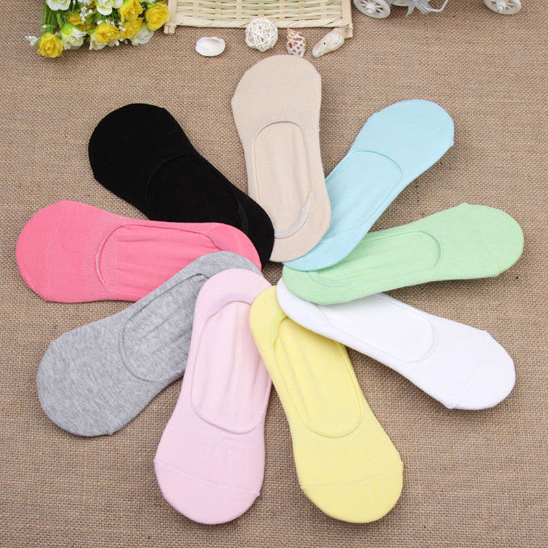 6Pair Solid No Slip Socks 3D Art Socks Invisible Women Slippers Sock
