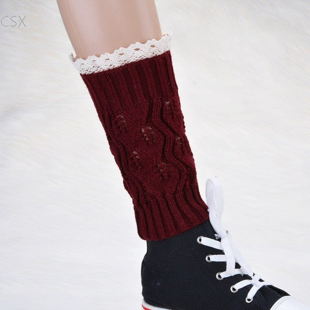 Alishebuy Stylish New Girl's Kids Warm Knit Boot Cuffs Lace Boot