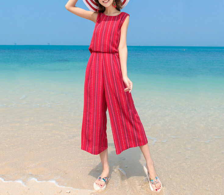 6740f4199d2 Korean New Style Beach Rompers Womens Jumpsuit Summer Red Plus Size ...