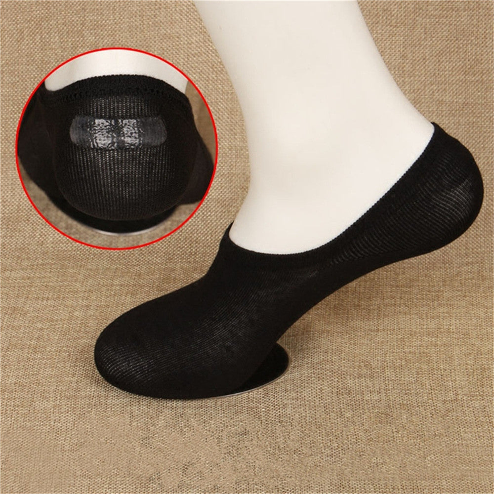 5pairs Unisex Soft Cotton Socks Loafer Boat Non-Slip Invisible Low Cut