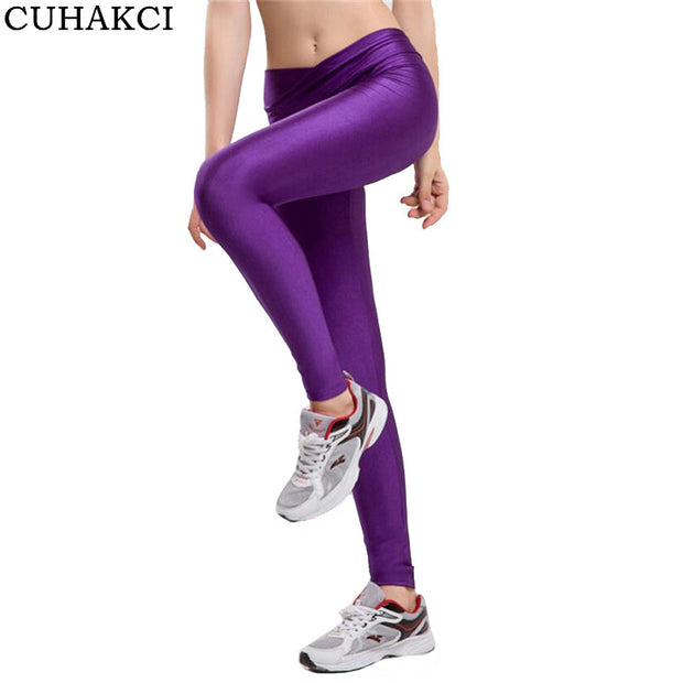 2017 V High Waist Candy Colors Neon Sportswear Workout Leggings