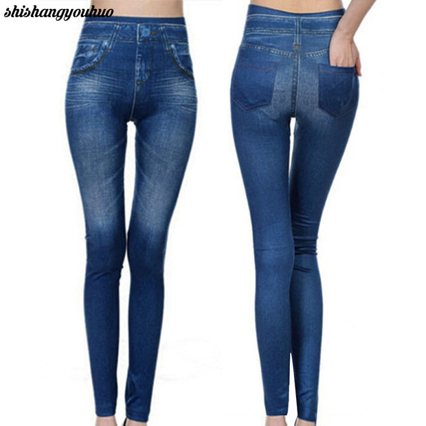 Slim Women Leggings Faux Denim Jeans Leggings Sexy Pocket Printing
